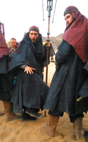 Extras on the set of Dragon Blade, as David Fireman (left) shows here, were dressed in a few costumes on any given day, representing the soldiers of ancient times.